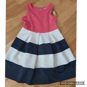 New! Striped Box Pleat Party Dress